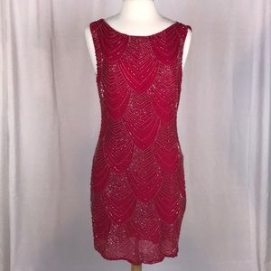 Alice & Olivia Red Beaded Mini Dress